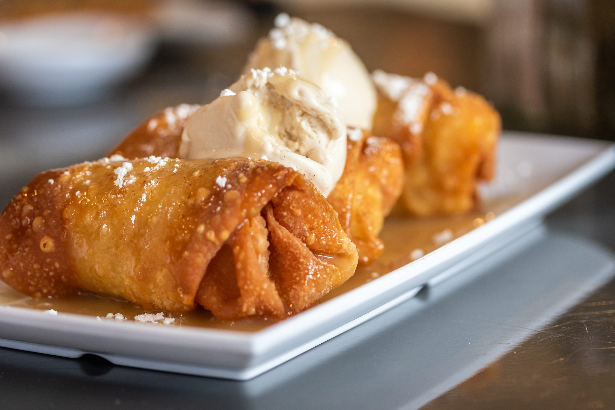 At NOLA Vegan in New Orleans, the dessert menu might include bananas Foster egg rolls.