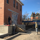 Workers work on the main entrance to the renovated Beery House at High and Main streets which will house the Fairfield County auditor's real estate division.