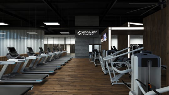 A rendering of a workout area at a new Endeavor Fitness under construction in Oceola Township shows some of the types of workout machines the center will feature.