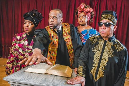 "Tasha McCoy, Marvin Hannah, Raven Dockery and Byron Jones perform in Skylight Music Theatre's production of ""The Gospel at Colonus."""