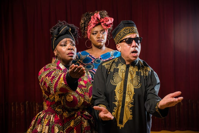 """Tasha McCoy, left, Raven Dockery and Byron Jones portray Oedipus and his daughters in Skylight Music Theatre's production of """"The Gospel at Colonus."""""""
