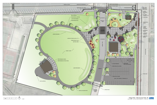 The Menomonee Falls Village Board has approved a $2 million bid for Phase 1 of the Village Park upgrade project. Phase 1 will include a plaza, performance amphitheater, restrooms and shelter building, trails and unique landscaping features.