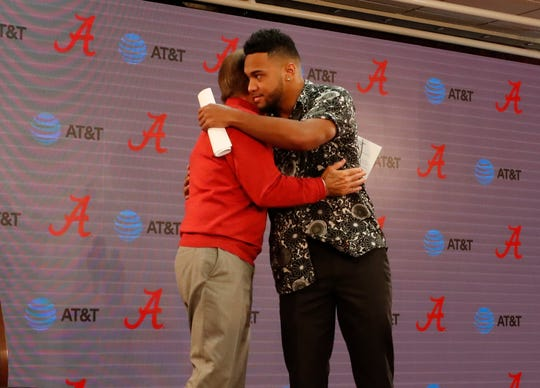 Alabama junior quarterback Tua Tagovailoa hugs head coach Nick Saban prior to announcing his intention to enter the 2020 NFL Draft during a press conference Monday morning, Jan. 6, 2020, from the Mal Moore Athletic Complex in Tuscaloosa (Photo by Kent Gidley/Alabama athletics)