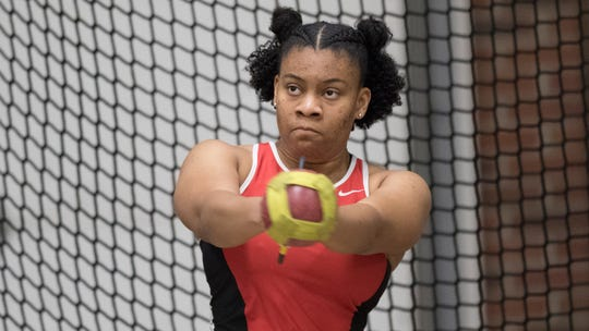 Princess Carter competes for Ball State during an event prior to the 2019-20 season. She is a junior with the Cardinals now.
