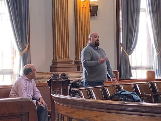 Former Alexandria Mayor Andy Hallam tells Judge Thomas Marcelain of the struggles he and his family have faced since former Alexandria treasurer Laura VanScoy-Andrews was convicted of stealing from the village in 2017. VanScoy-Andrews was granted judicial release during a hearing on Monday, Jan. 6, 2020.