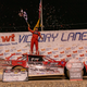 Cade Dillard celebrates his victory in the Battle at the Border Morton Buildings World of Outlaws Late Model event at Vado Speedway Park on Sunday, Jan. 5, 2020.