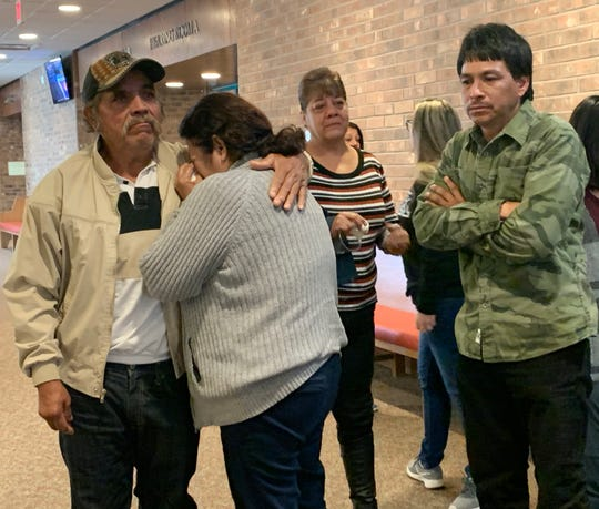 Arturo Cordova's mother, Maria Cordova, is consoled by a friend, in the hallway of Third Judicial District Court, Monday Jan. 6, 2020, after Carlos Garcia was sentenced to 31 1/2 years in prison for her son's death and the death of Denise Chavez.