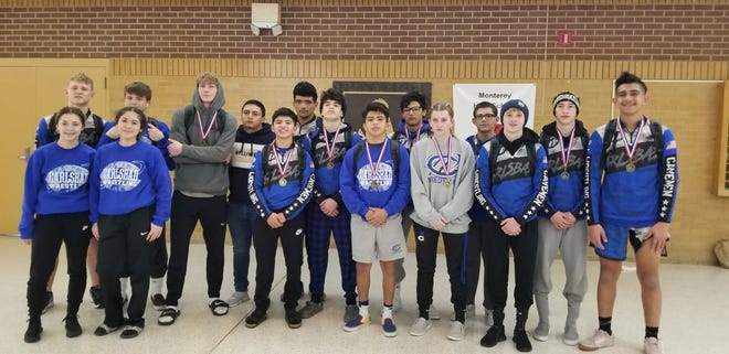 Carlsbad's wrestlers pose after competing at the South Plains Invitational Tournament on Jan. 3, 2020.
