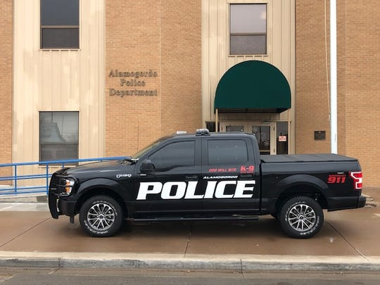 "The new ""blackout"" Alamogordo Police vehicles will be black with white decals, and red decals on the K9 vehicle. Courtesy photo."