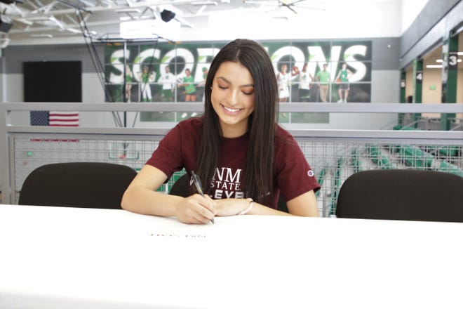 Farmington libero Talia Ockerman will continue her volleyball career at NCAA Division I New Mexico State University as a preferred walk-on.