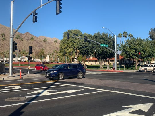 A driver continues south on Indian Canyon Drive at Alejo Road Monday Jan. 6, 2020 after it was converted to a two-way street. An unrelated project will cause delays on Indian Canyon this week as drivers continue to adjust to the road's new layout.
