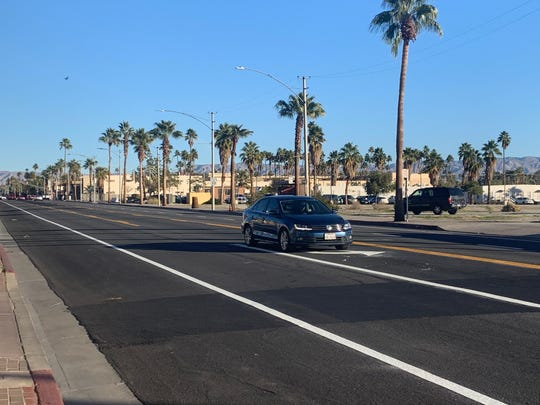 This photo shows the first driver to head south on Indian Canyon Drive through downtown Palm Springs Monday, Jan. 6, 2020. The stretch between Alejo Road and Camino Parocela was converted to a two-way road and final adjustments may delay traffic this week.