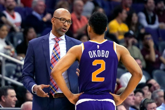 Phoenix Suns head coach Monty Williams in the first half during an NBA basketball game against the Memphis Grizzlies, Sunday, Jan. 5, 2020, in Phoenix. (AP Photo/Rick Scuteri)