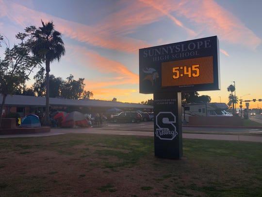 Parents wait at Sunnyslope High School