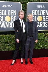 Portia de Rossi and Ellen DeGeneres attend the 77th Annual Golden Globe Awards at The Beverly Hilton Hotel on January 05, 2020 in Beverly Hills, California.