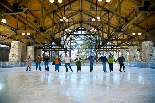 A group of ice skaters at Mohonk Mountain House's award winning ice rink.