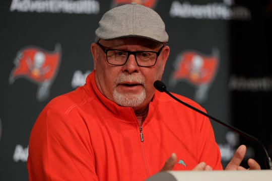Tampa Bay Buccaneers head coach Bruce Arians during an end of the season NFL football news conference Monday, Dec. 30, 2019, in Tampa, Fla. The Bucs finished the season with a 7-9 record. (AP Photo/Chris O'Meara)