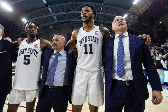Led by Lamar Stevens (11), Penn State appears safely headed for the NCAA tournament this season.