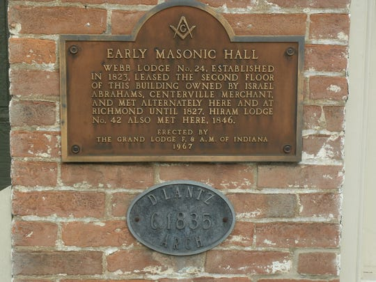 "Centerville's annual Archway Days Festival celebrates their proud local heritage. This image of an archway plaque explains it was the site of the first Masonic Lodge. Hiram Lodge number 42, organized in 1845 and chartered in 1846, had a membership of ten. The much-touted Lodge was a distinctly proud one, having been organized ""with the feeling being so strong there for it"" to be located at the county seat, but unfortunately Centerville ""forfeited the charter in 1868 because it admitted to its membership a man with a wooden leg,"" which was against the rules. The charter was removed in 1869. But Centerville Masons were resilient; they merely re-charted in 1870, changing the rule."