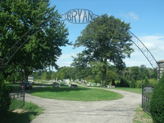 The Bryan Cemetery, south of Centerville on the west side of Willow Grove road at 2601, was founded on Aug. 19, 1833, at which time it was called the Bryant Chapel Cemetery. The iron fencing later added to the front of the cemetery was part of the original iron fencing surrounding Centerville's old jail during Wayne County's infamous 1873 courthouse wars.