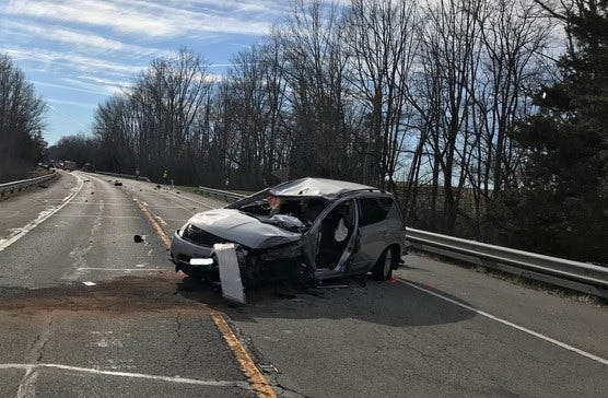 A Nissan Murano rolled several times Monday after hitting a box trailer on U.S. 27 south of Richmond.