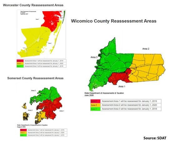 Maryland State Department of Assessments and Taxation reassessment areas — Wicomico, Worcester and Somerset counties. (AREA 2 = YELLOW).