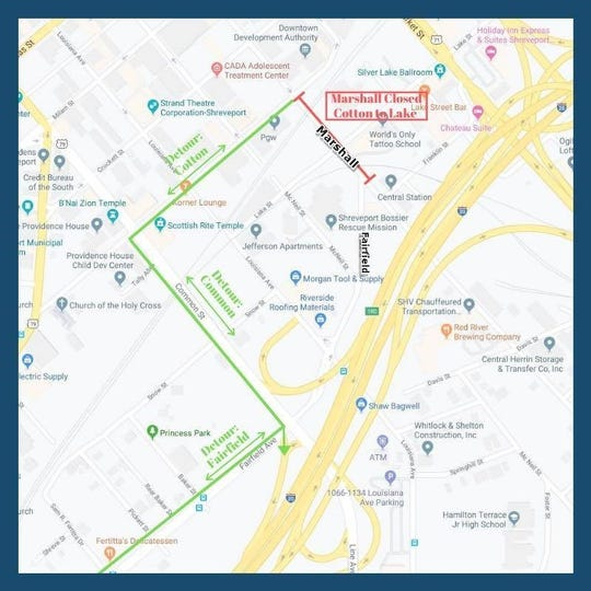 Map shows where Marshall Street will be closed Jan. 6-31.