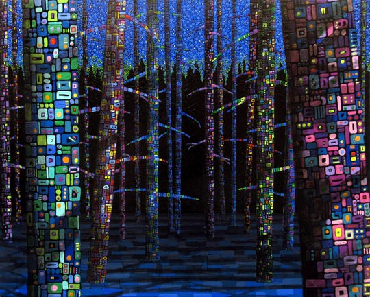 """Moon Shadows"" is part of Eve and Gary Wallinga's exhibit ""Eclipsed by Magic,"" which runs now through Jan. 11 at the Paramount Center for the Arts lobby."