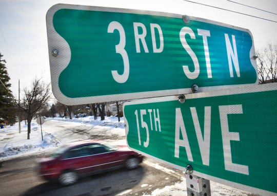 Traffic moves along Third Street North Monday, Jan. 6, 2020, in St. Cloud. The St. Cloud City Council is expected to ask voters for a half-cent sales tax to fund four capital improvements, including Third Street North from 10th Avenue North to Minnesota Highway 15.