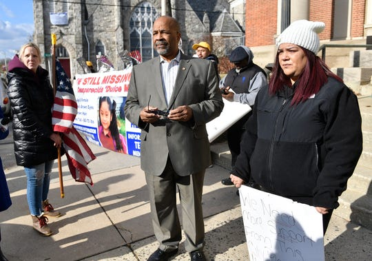 Bridgeton Mayor Albert Kelly speaks with family and friends of missing 5-year-old Dulce Maria Alavez outside City Hall on Monday, Jan. 6, 2020.