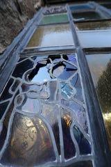 Broken stained glass windows at St. Patrick's Church in Yorktown Heights Jan. 6, 2020.