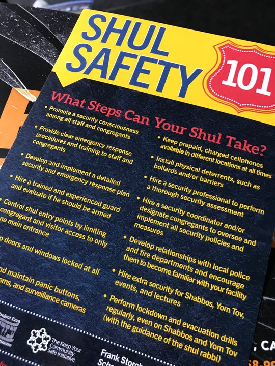Instruction cards were handed out at a safety training geared toward Orthodox Jewish residents in Monsey on Jan. 5, 2020.