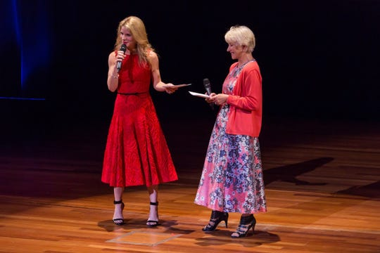 Broadway star Kelli O'Hara and Oscar-winning actress Dame Helen Mirren share the stage at the annual gala for SAY: Stuttering Association for the Young, a non-profit dedicated to helping kids who stutter.