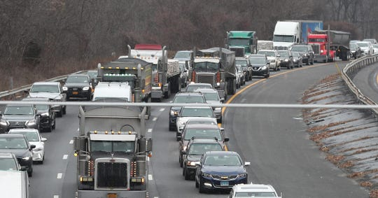 Traffic on southbound Intestate 684 in Goldens Bridge is backed up for miles following a two-vehicle accident just south of Route 138 in Goldens Bridge Jan. 6, 2020. The driver of the van suffered a serious hand injury and was transported to the hospital by Katonah/Bedford Hills Ambulance Corps.