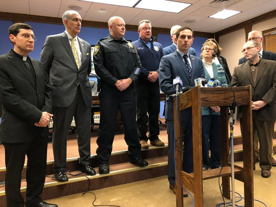 Yorktown Town Supervisor Matt Slater, in his first week on the job, holds a press conference Monday, Jan. 6, 2020 regarding the wave of vandalism from Friday night-early Saturday in the town.