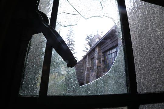 A broken window at St. Patrick's Church in Yorktown Heights Jan. 6, 2020.