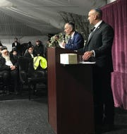 Frank Storch of the Chesed Fund, left, and Doron Horowitz, senior national security adviser of Secure Community Network, answer questions during a safety and security training in Monsey on Jan. 5, 2020.