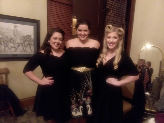 Hannah Smith (middle) and Brianna Barnhart-Arsement (right) of the 2019 Karnevale Andrews Sisters performance will return to perform at the 2020 Karnevale.