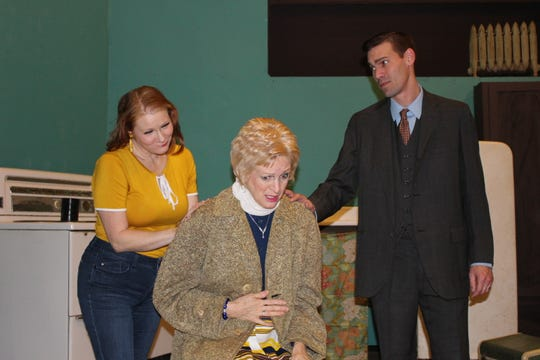 "Sarah Gantzer as Corie, Eileen Adams as Ethel and Jared Gantzer as Paul rehearse a scene from in ""Barefoot in the Park.""  The play opens this weekend at The Renner Theatre."