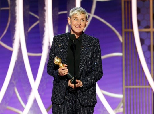 Ellen DeGeneres accepts the Carol Burnett TV Achievement Award at the 77th annual Golden Globes.