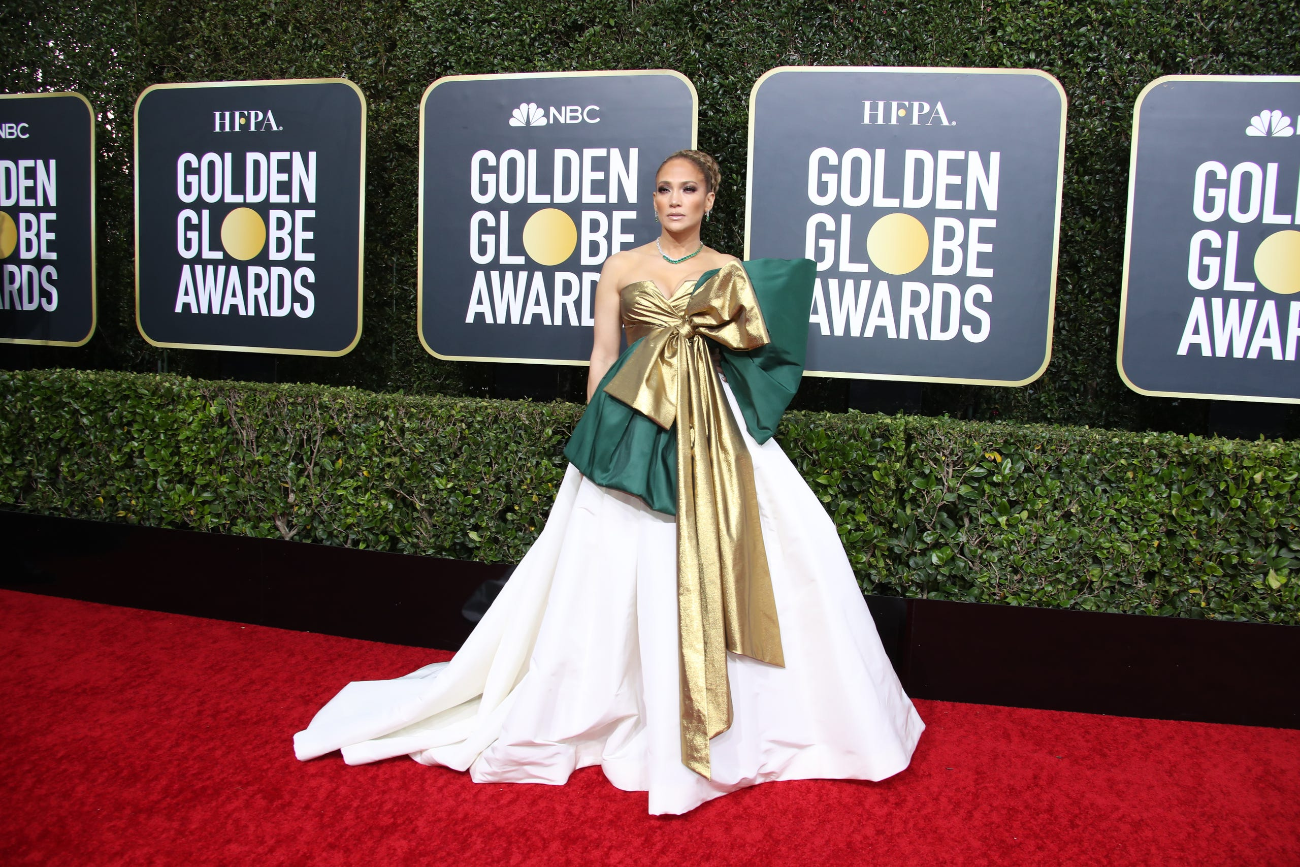 """It's showtime! TV and movie stars hit the carpet for Sunday's Golden Globes, where """"Joker,"""" """"The Irishman"""" and """"Fleabag"""" vyed for top prizes. Pictured, supporting actress nominee Jennifer Lopez (""""Hustlers"""") arrives at the Beverly Hilton in Los Angeles."""