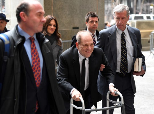 Harvey Weinstein arrives using a walker at the Manhattan courthouse on Jan. 6, 2020 for the first day of his sex-crimes trial.