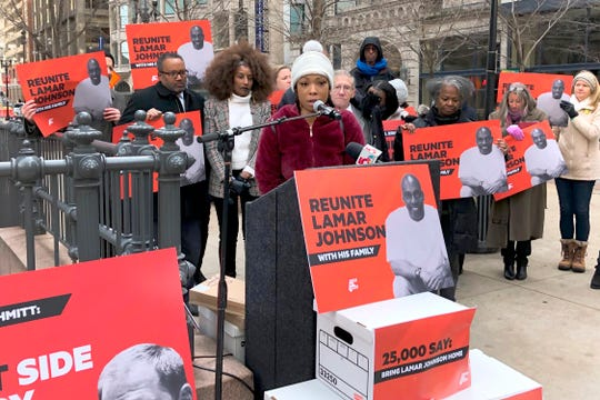 Brittany Johnson, speaks at a news conference in downtown St. Louis on Dec. 10, 2019, urging the release of her father, Lamar Johnson, from prison.