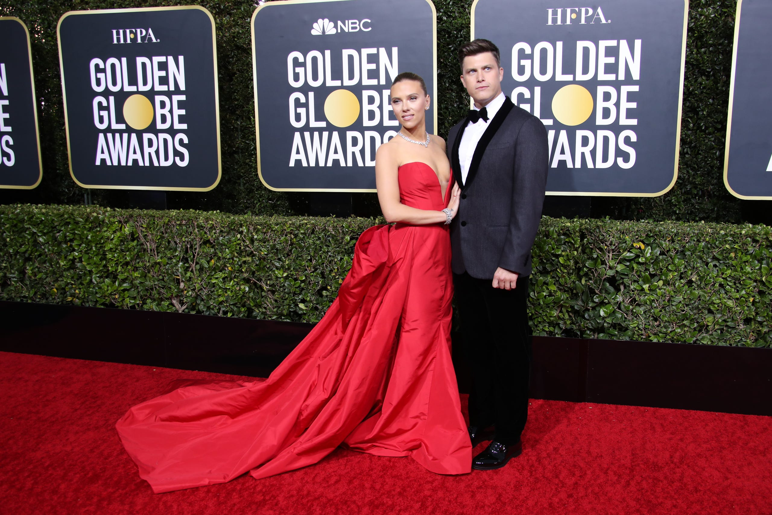 Scarlett Johansson, left, and Colin Jost.