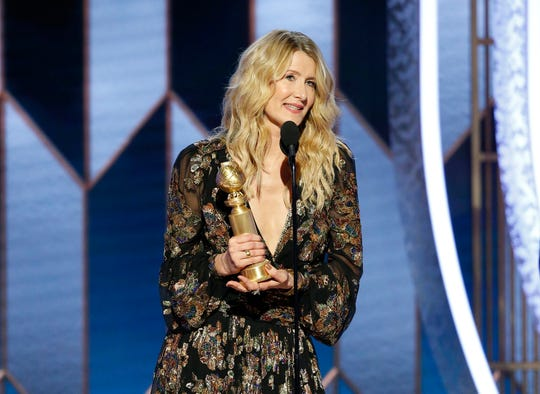 """Laura Dern won best supporting actress for her role as a tough divorce lawyer in """"Marriage Story."""""""