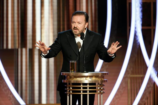 """Sunday's Golden Globes host Ricky Gervais went there with a lewd joke about """"Cats."""""""