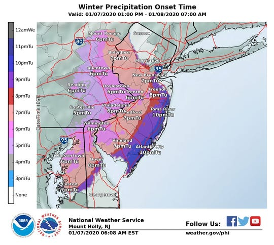 This map shows the times the National Weather Service predicts precipitation will hit New Jersey.