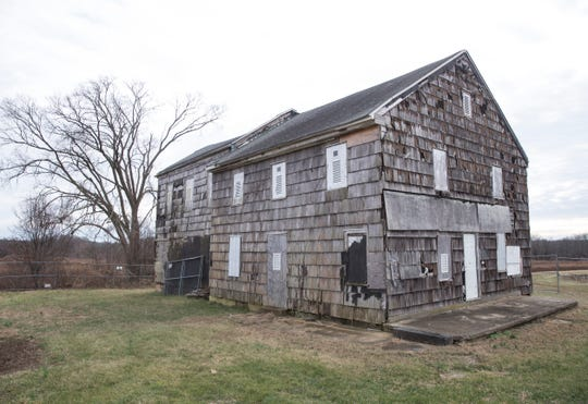 The dilapidated Sutfin farmhouse at Monmouth Battlefield State Park.