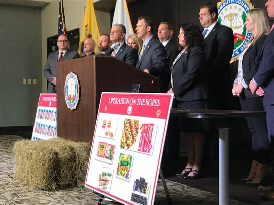 Monmouth County Prosecutor Christopher Gramiccioni announcing the takedown of a ring that sold THC-infused candy.