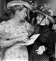 Minnie Pearl, left, signs an autograph for Mrs. Bro Mingus (later Roy Helen Akers) at the Rehab telethon on Jan. 17, 1976. A standing-room-only crowd attended the seven-hour telethon to raise funds for West Texas Rehabilitation Center.